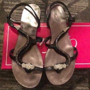 Wanted Sling-back Sandals w/ Rhinestone Snake